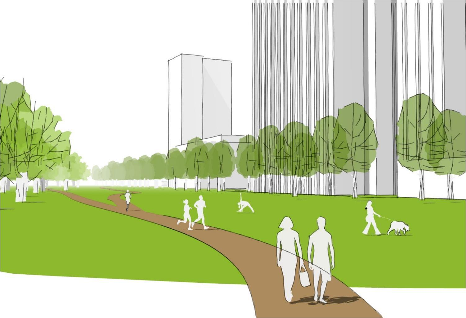 Eine von sieben zentralen Ideen des Freiraumkonzeptes der SINN: Rundweg für Radler, Spaziergänger und Jogger
